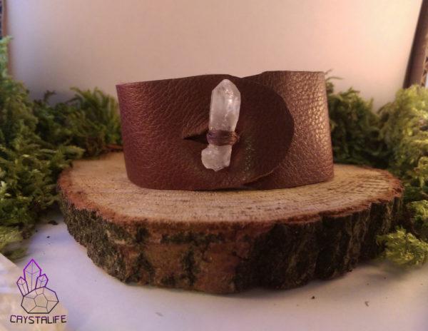 IMAG2235 600x464 - Lemurian Seed Quartz, Leather Cuff Bracelet. Brown