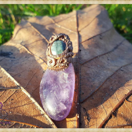 Amethyst + Emerald Crystal Copper Pendant  - Copper Electroformed - Quartz Crystal Points - OOAK, Healing, Meditation, yoga, new age, hippy