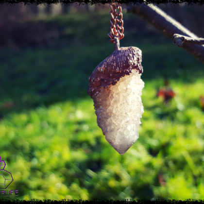 Citrine + Amethyst, Cactus Quartz , Copper + Clay Pendant  - Copper Electroformed - OOAK, Healing, Meditation, yoga, new age, hippy