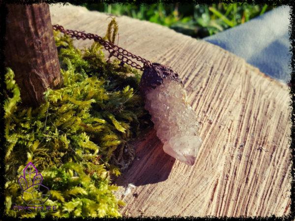 Citrine + Amethyst, Cactus Quartz , Copper + Clay Pendant  - Copper Electroformed - OOAK, Healing, Meditation, yoga, new age, hippy