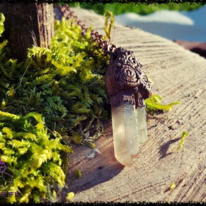 Clear Quartz Copper  + Clay Pendant  - Copper Electroformed - OOAK, Healing, Meditation, yoga, new age, hippy