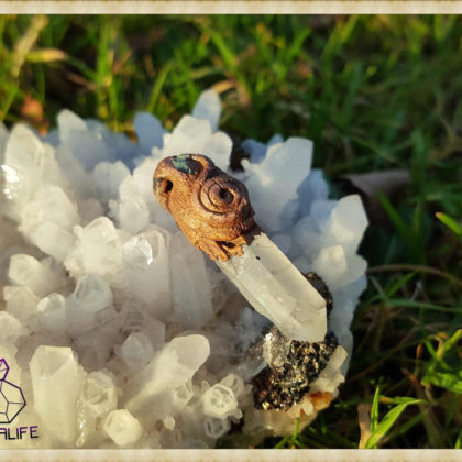Clear Quartz Copper Pendant  - Copper Electroformed - OOAK, Healing, Meditation, yoga, new age, hippy