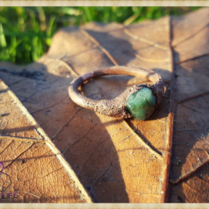 Electroformed, Emerald + Copper Statement Ring - Handmade Gemstone Jewellery - Healing - Meditation - Yoga - Holistic - Natural - Crystals