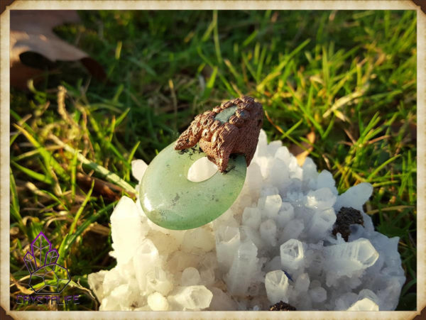 Jade + Emerald Crystal Copper Pendant  - Copper Electroformed - Quartz Crystal Points - OOAK, Healing, Meditation, yoga, new age, hippy