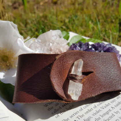 Lemurian Seed Crystal Leather Cuff Bracelet, | Healing | Meditation | Yoga | New Age | Metaphysical | Reiki | Gemstone Jewellery | Gift |