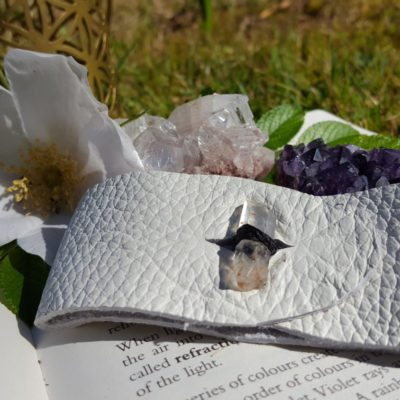 Lemurian Seed Crystal Leather Cuff Bracelet, | Healing | Meditation | Yoga | New Age | Metaphysical | Reiki | Gemstone Jewellery | Gift |