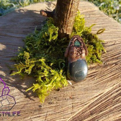 Electroformed, Emerald + Hematite Pendant