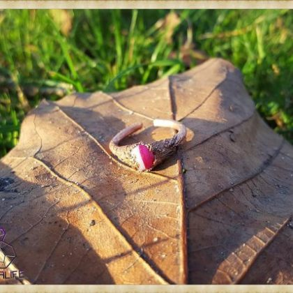 Electroformed, Pink Agate + Copper Statement Ring