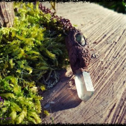 Peridot and Quartz , Copper + Clay Pendant 2