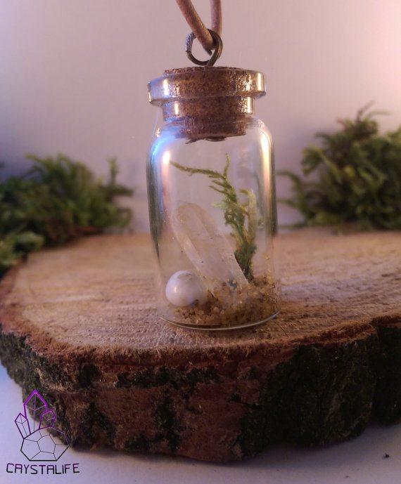 Quartz Crystal Miniature Vial Pendant, Ocean Style.  | Healing | Meditation | Yoga | New Age | Gemstone Jewellery | Gift | Nature|