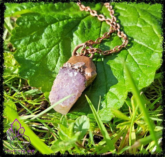 amethyst and citrine quartz crystal copper pendant electroformed handmade 593470aa1 - Handmade Gemstone Jewellery for the Soul | Crystalife