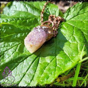 Amethyst and Citrine, Quartz Crystal + Copper Pendant | Electroformed | Handmade