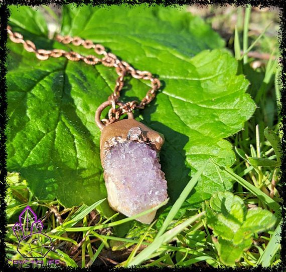 Amethyst and Citrine, Quartz Crystal + Copper Pendant | Electroformed | Handmade