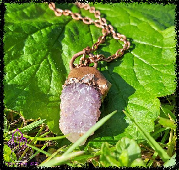 Amethyst and citrine copper plated pendant amethyst and citrine quartz crystal copper pendant electroformed handmade aloadofball Choice Image