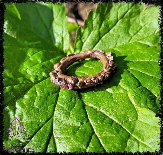 Genuine Ruby + Copper Ring | Electroformed | Handmade