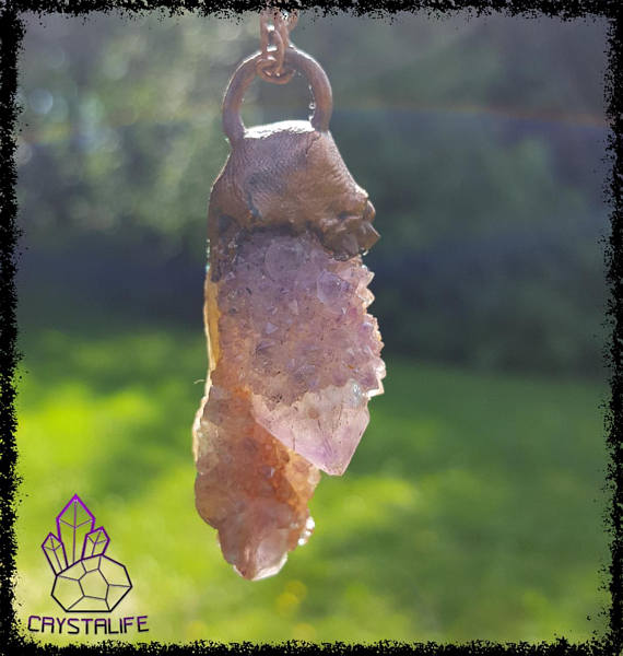Amethyst, Citrine + Copper Healing Pendant | Crystal Pendant | Gemstone Jewellery
