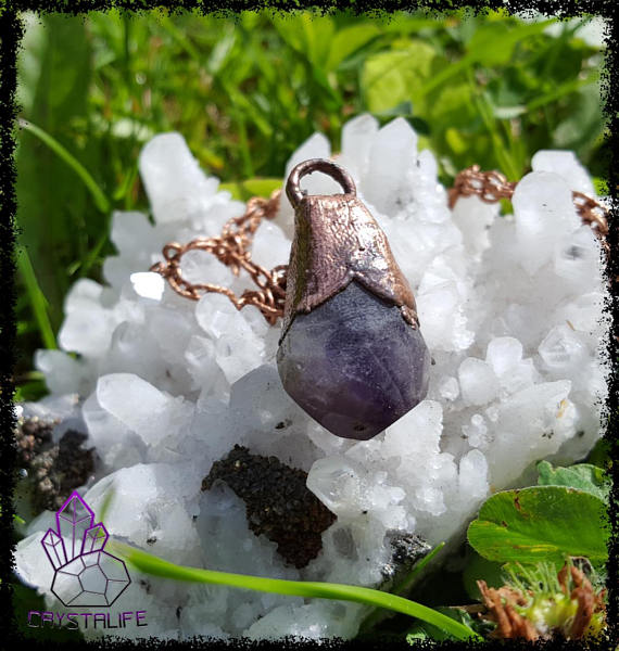 Amethyst + Copper Protection Pendant | Healing Crystal Pendant | Gemstone Jewellery