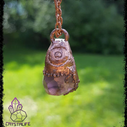 Amethyst Dipped in Copper | Healing Crystal Pendant | Gemstone Jewellery