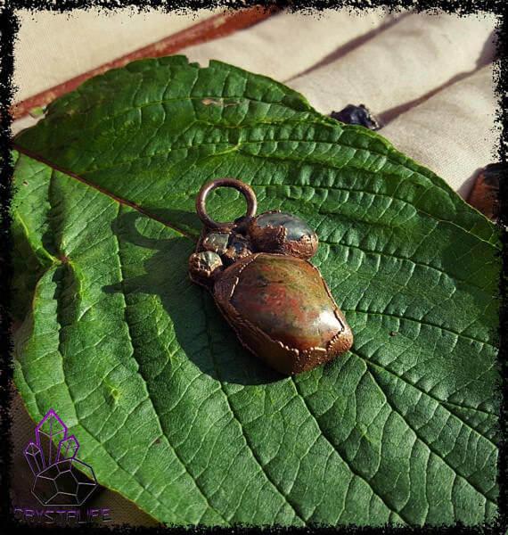 Unakite, Quartz + Copper Pendant | Crystal Pendant | Gemstone Jewellery