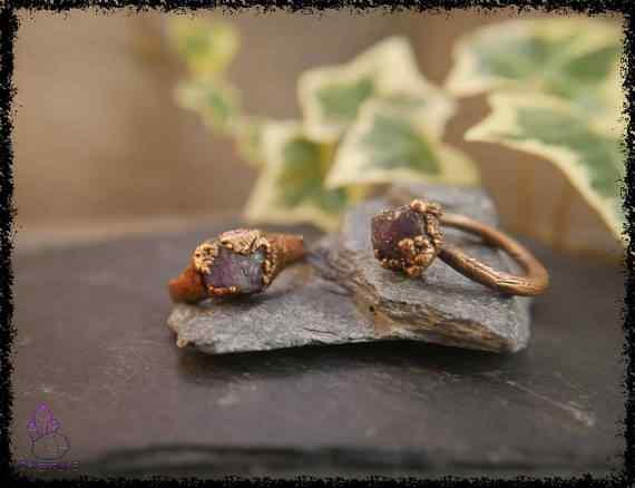 raw amethyst gemstone ring 5a5d2954 - Raw Amethyst Gemstone Ring - Copper Electroformed