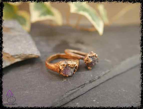 raw amethyst gemstone ring 5a5d2981 - Raw Amethyst Gemstone Ring - Copper Electroformed