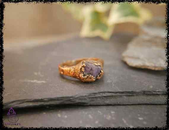 raw amethyst gemstone ring 5a5d298d - Raw Amethyst Gemstone Ring - Copper Electroformed