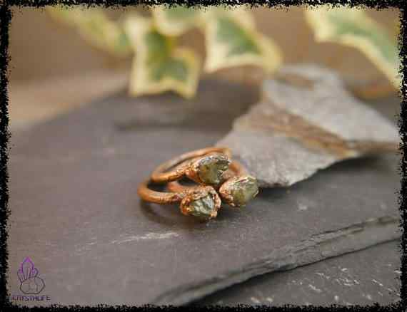 raw peridot crystal ring 5a5d29d0 - Raw Peridot Crystal Ring - Copper Electroformed