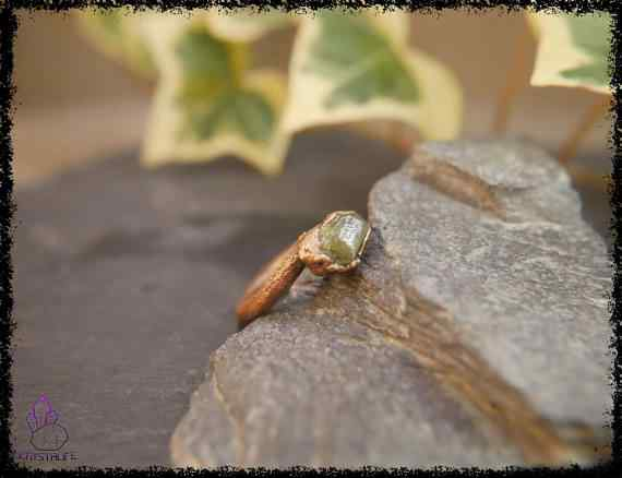 raw peridot crystal ring 5a5d29e7 - Raw Peridot Crystal Ring - Copper Electroformed