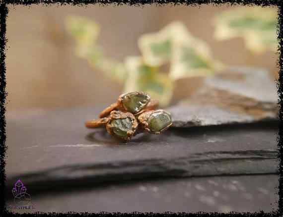 raw peridot crystal ring 5a5d29f2 - Raw Peridot Crystal Ring - Copper Electroformed