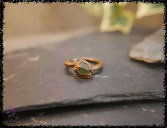 raw peridot crystal ring 5a5d2a21 - Raw Peridot Crystal Ring - Copper Electroformed