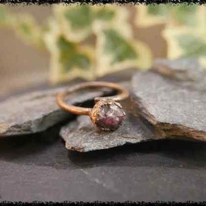 raw ruby gemstone ring 5a5d2a3e 420x420 - Raw Ruby Gemstone Ring - Copper Electroformed
