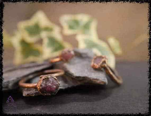 raw ruby gemstone ring 5a5d2a65 - Raw Ruby Gemstone Ring - Copper Electroformed