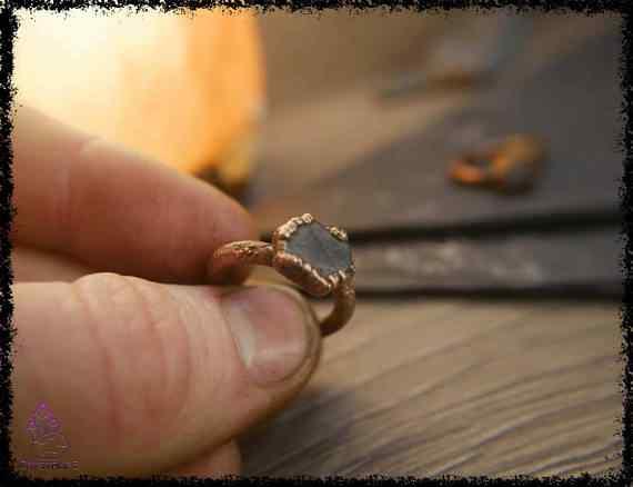 raw sapphire gemstone ring 5a5d2910 - Raw Sapphire Gemstone Ring - Copper Electroformed
