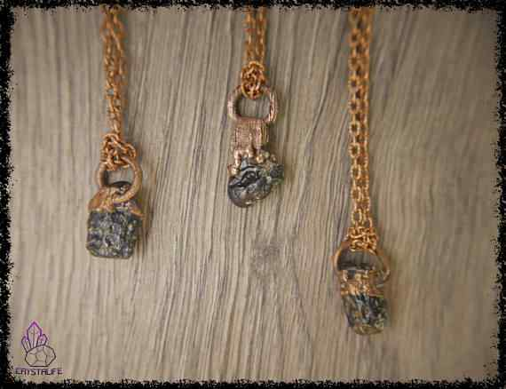 tibetan moldavite tektite pendant 5a5d2878 - Tibetan Moldavite Tektite - Copper Electroformed Pendant
