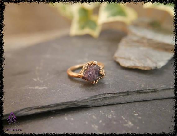 raw amethyst gemstone ring 5b18e635 - RAW AMETHYST GEMSTONE Ring