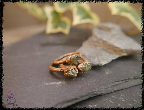 raw peridot crystal ring 5b18e722 - RAW PERIDOT CRYSTAL Ring