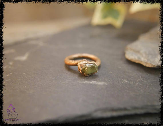 raw peridot crystal ring 5b18e763 - RAW PERIDOT CRYSTAL Ring