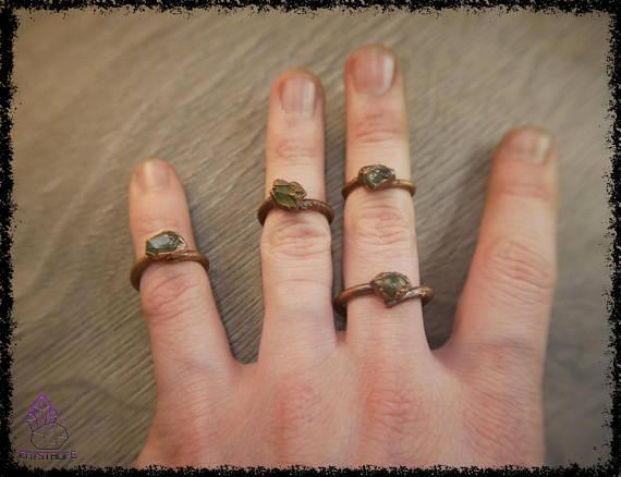 raw peridot crystal ring 5b18e771 - RAW PERIDOT CRYSTAL Ring