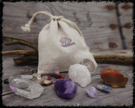 Surprise gemstones in a crystal bag, gift bag for secret santa and christmas