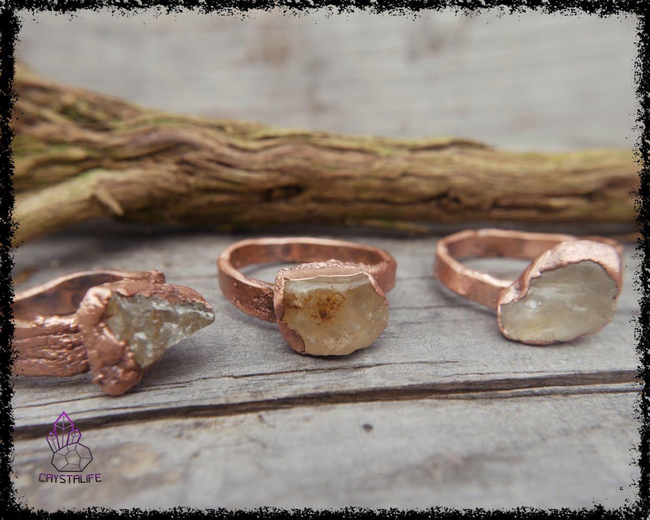 raw topaz gemstone ring celestial jewelry crystalife