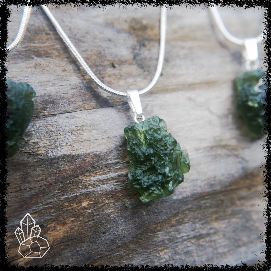 Czech Moldavite Pendant on Silver chain