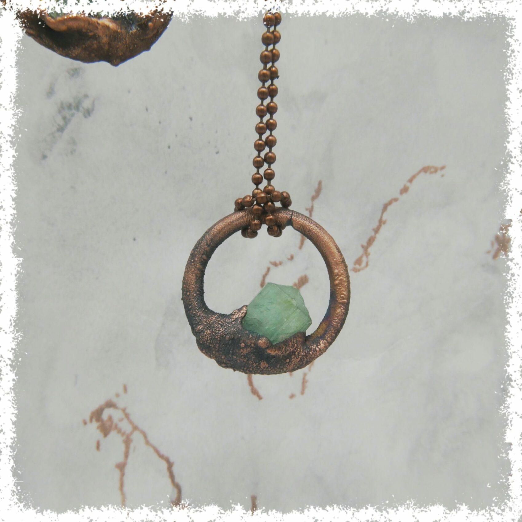 Aquamarine Crystal Necklace Electroformed