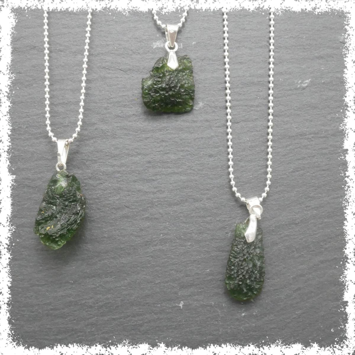 Moldavite pendant on silver chain