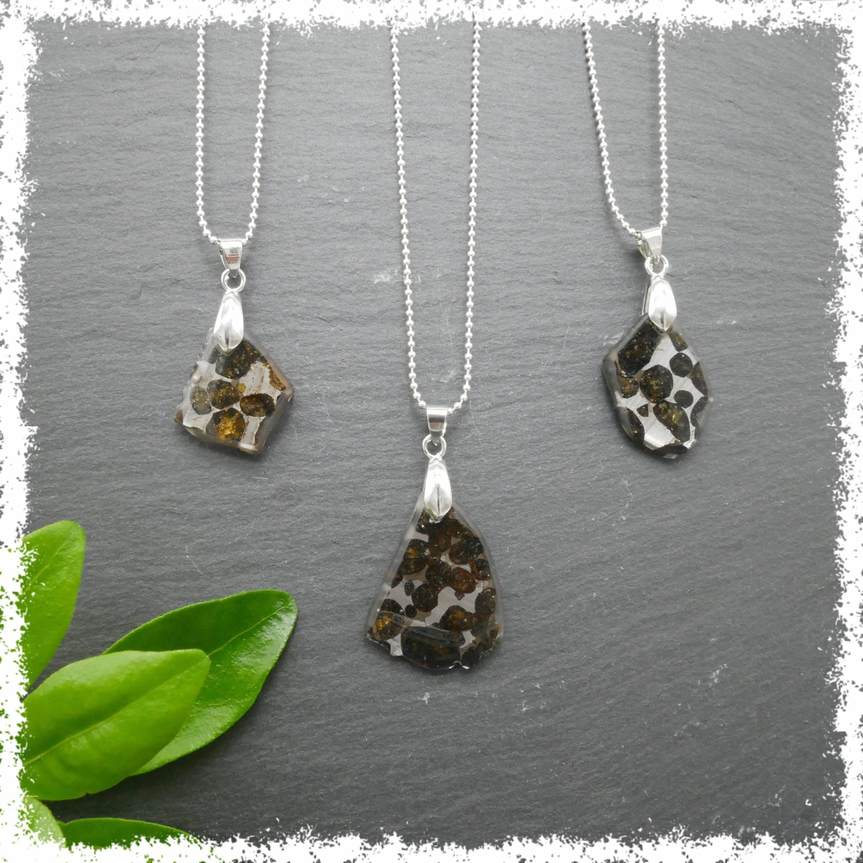 Pallasite Meteorite jewelry Olivine meteorite