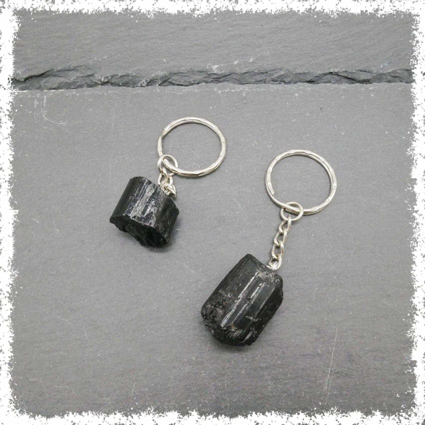 Black Tourmaline Crystal Key Chain
